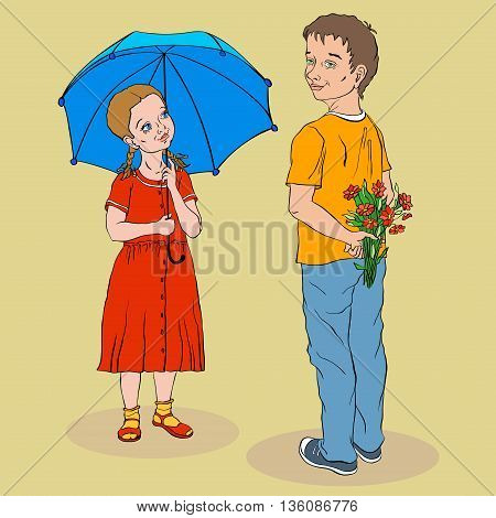 girl in a red dress under a blue umbrella and a boy in a yellow T-shirt with a bouquet of red flowers stand and smile
