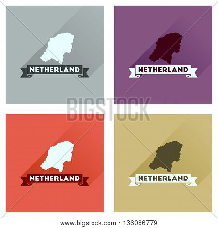 Concept flat icons with long  shadow Netherlands map