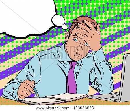 sad tired worker in the office in a blue shirt and purple tie, sitting at his desk in the background in the style of pop art