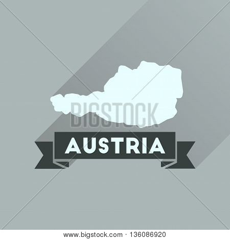 Flat icon with long  shadow map of Austria