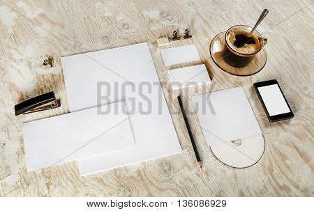Blank stationery set. ID template. Mock-up for branding identity for designers. Responsive design template.