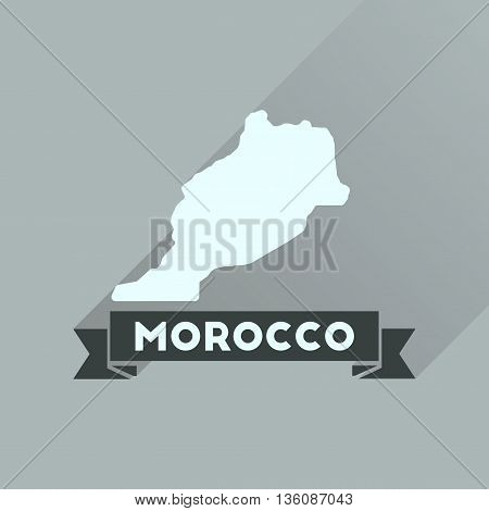 Flat icon with long  shadow Morocco map