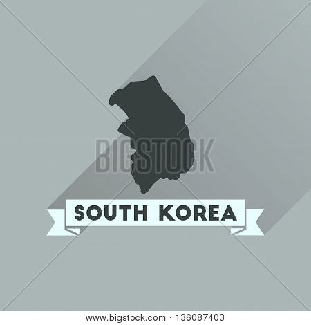 Flat icon with long  shadow Map South Korea