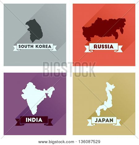 Concept flat icons with long  shadow maps countries of world