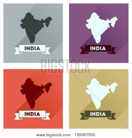 Concept flat icons with long  shadow India map