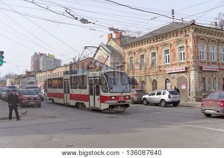 Nizhny Novgorod Russia. - March 25.2016. City tram route number 1 street Ilinskaya