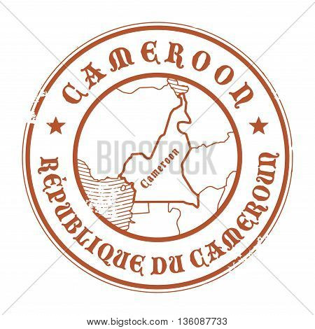 Grunge rubber stamp with the name and map of Cameroon, vector illustration