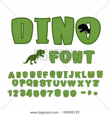 Dino Font. Dinosaur Abc. Texture Animal Of Jurassic Period. Tyrannosaurus Alphabet. Green Monster Le