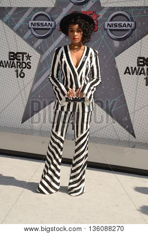 LOS ANGELES - JUN 26:  Janelle Monae at the BET Awards Arrivals at the Microsoft Theater on June 26, 2016 in Los Angeles, CA