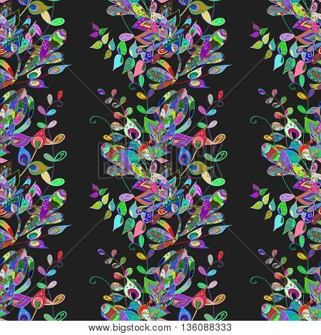 Seamless vintage pattern on black background with colorful elements.