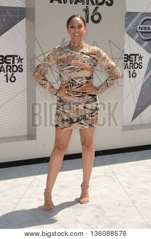 LOS ANGELES - JUN 26:  Tia Mowry-Hardrict at the BET Awards Arrivals at the Microsoft Theater on June 26, 2016 in Los Angeles, CA