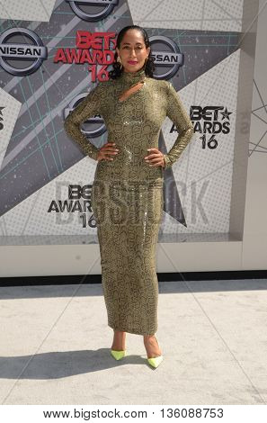 LOS ANGELES - JUN 26:  Tracee Ellis Ross at the BET Awards Arrivals at the Microsoft Theater on June 26, 2016 in Los Angeles, CA