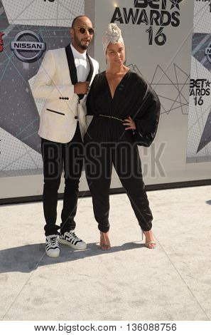 LOS ANGELES - JUN 26:  Swizz Beatz, Alicia Keys at the BET Awards Arrivals at the Microsoft Theater on June 26, 2016 in Los Angeles, CA