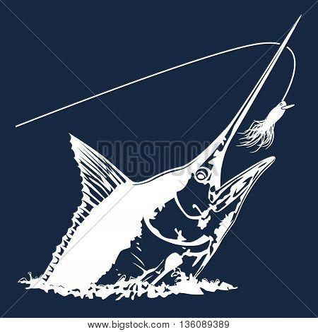 Black Marlin Head Blue