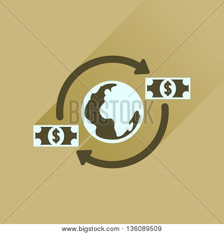Flat icon with long  shadow Earth money
