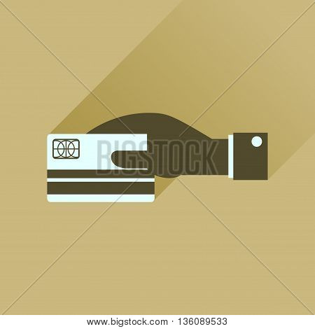 Flat icon with long  shadow bank card hand