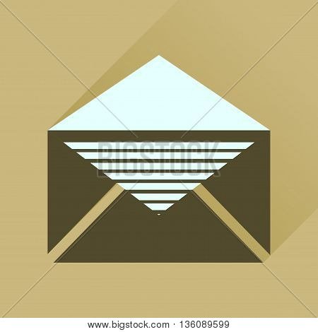 Flat icon with long  shadow letter envelope