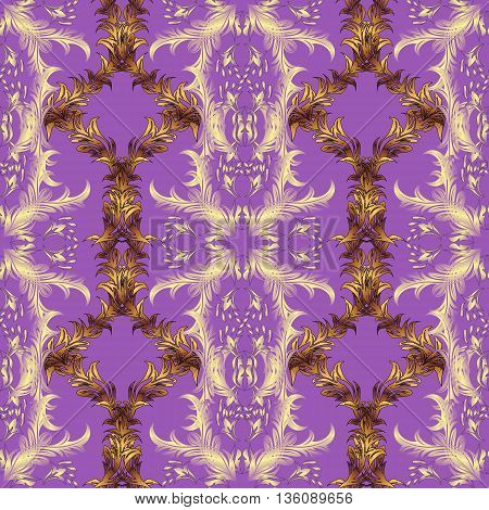 seamless texture on lilac gradient background with golden pattern