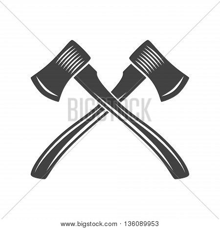 Logo elements. Black and white monochrome flat vector illustrations. Two crossed axes with long handle.