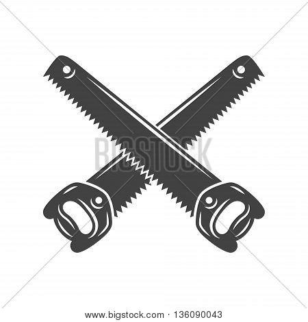 Two crossed handsaws. Black on white flat vector illustration logo element isolated on white background