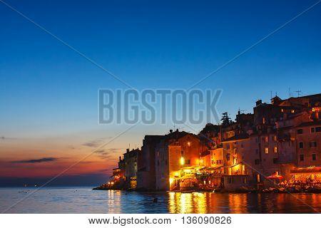 View On Old Town In Rovinj, Istria, Croatia. Vintage Look