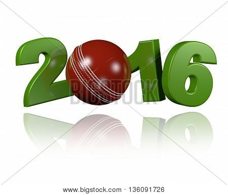 Cricket ball 2016 3D illustration with a white Background