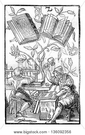 A bookbinder's workshop in the middle ages, vintage engraved illustration. Magasin Pittoresque 1836.