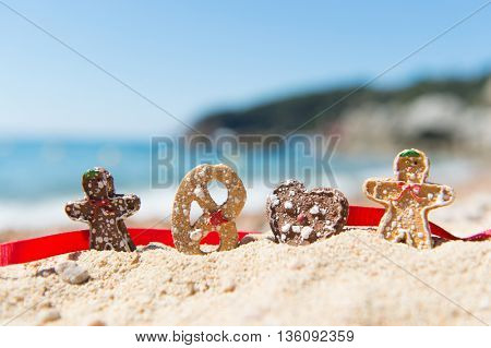 Row Christmas cookies at the summer beach
