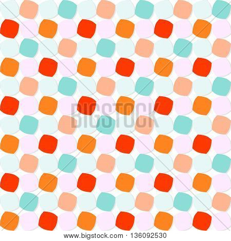 Abstract geometric pattern with orange, blue, and pink shaded rounded squares on white background. Seamless repeat.