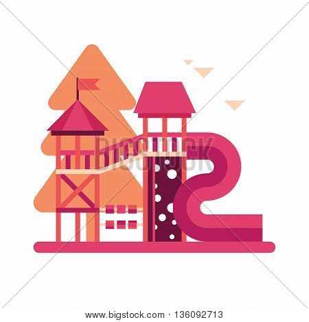 Kids playground. Colored in orange and magenta flat vector illustration.