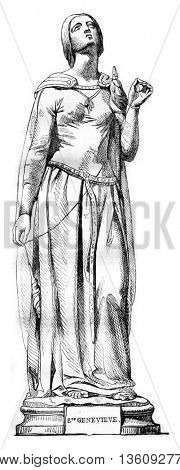1836 Sculpture Show, Statue of St. Genevieve, the patron saint of Paris, vintage engraved illustration. Magasin Pittoresque 1836.