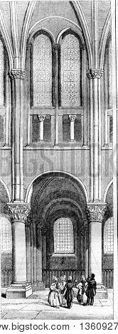 Twelfth century, Span of the apse of Saint Germain des Pres, vintage engraved illustration. Magasin Pittoresque 1836.