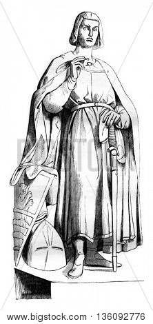 1836 Sculpture Show. Statue of Lord of Joinville, vintage engraved illustration. Magasin Pittoresque 1836.
