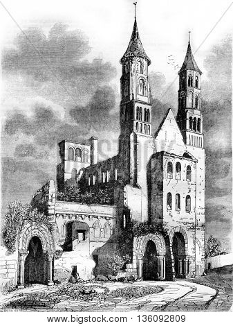 View of the ancient abbey of Jumieges, vintage engraved illustration. Magasin Pittoresque 1836.