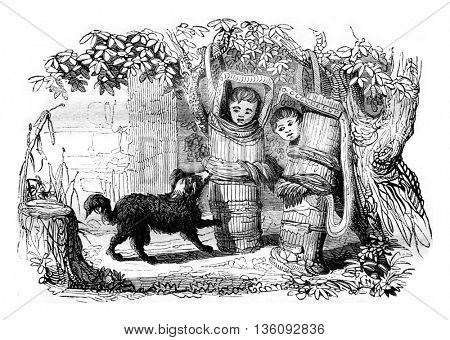 Canadian cradles, vintage engraved illustration. Magasin Pittoresque 1836.
