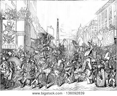 View Corso, in Rome, during the Carnival, vintage engraved illustration. Magasin Pittoresque 1836.