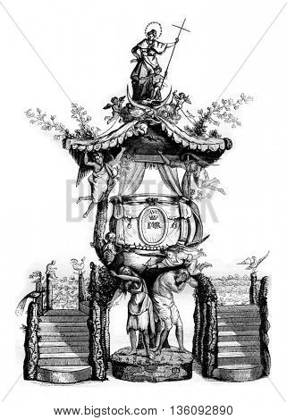 Wooden pulpit in the church of St. Gudule, seventeenth century, vintage engraved illustration. Magasin Pittoresque 1836.