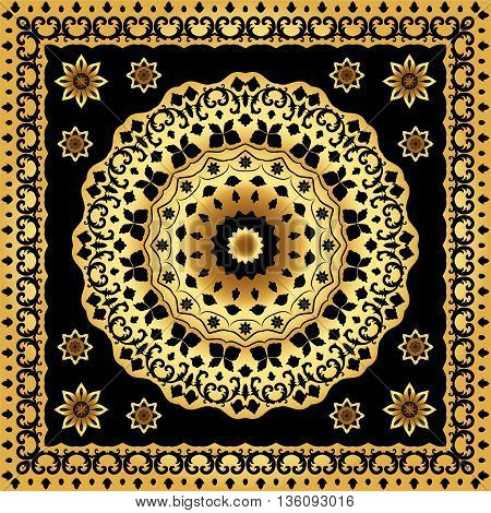 Black handkerchief with gold ornament on black background. Square and round ornament for print on fabric, vector illustration.