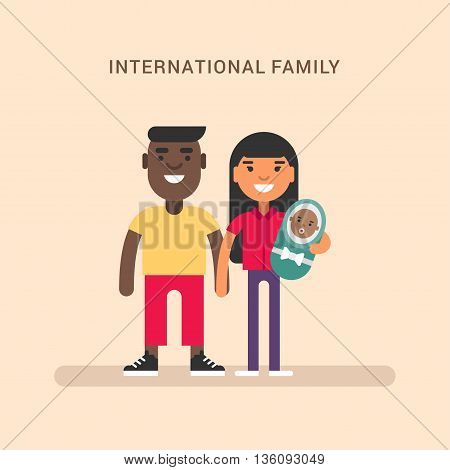 International family. African american and european. Colored flat vector illustration on pink background