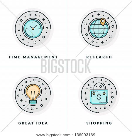 A set of four icons on business issues such as time management research shopping great ideas. Colored in gray orange and blue flat vector illustrations.