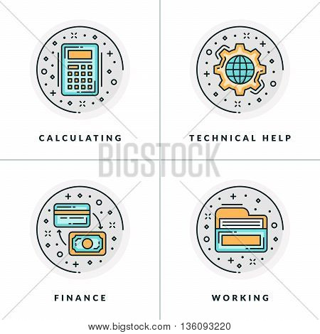 A set of four icons on business issues and processes such as calculating technical help finance working. Colored in gray orange and blue flat vector illustrations.