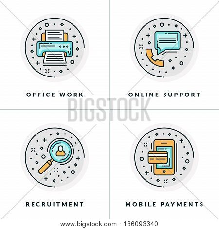 Office work online support recruitment online payments. A set of four colored in gray orange and blue flat vector illustrations circle icons.