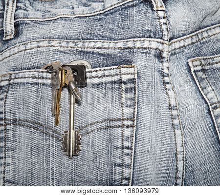 Bunch of keys in a hip-pocket of jeans. Close up