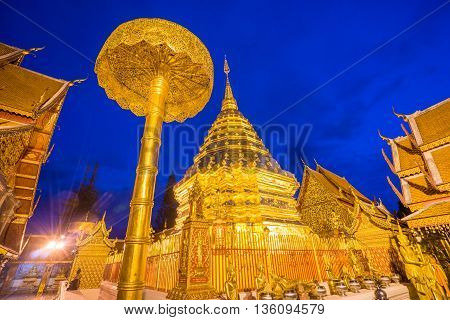Wat Phra That Doi Suthep in night time. Famous Temple, Chiang Mai ,Thailand.