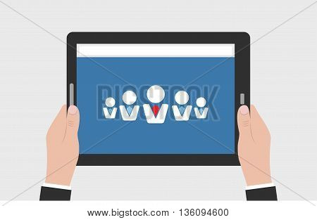 Man hands holding business tablet with blue background and business man icons. Tablet horizontal position in man's hands. Clean mockup isolated empty.