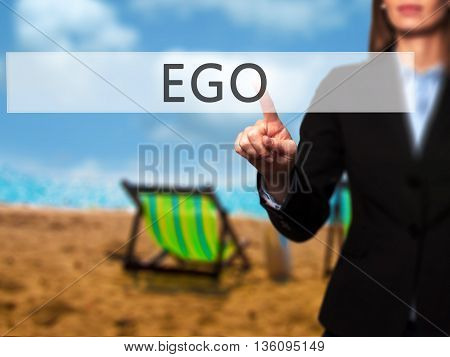 Ego - Businesswoman Hand Pressing Button On Touch Screen Interface.