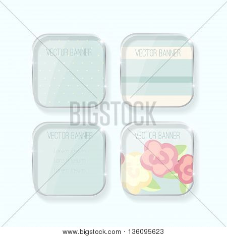Vector banners set. pastel colors. glass elements. english style. shabby chic