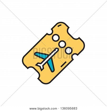 Perforated boarding card with airplane. Airport, ticket, passenger, airplane, flight. Airport concept. Can be used for topics like airport, flight, air transport