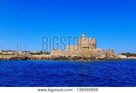 Colorful sunny day Mandraki harbor Rhodes, Greece