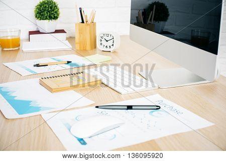 Office Desktop With Paperwork